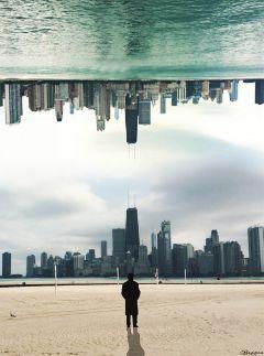 city edited water sky fantasy