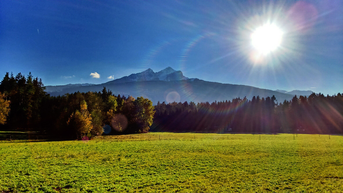 #mountain #blue sky #autumn #nature #sun