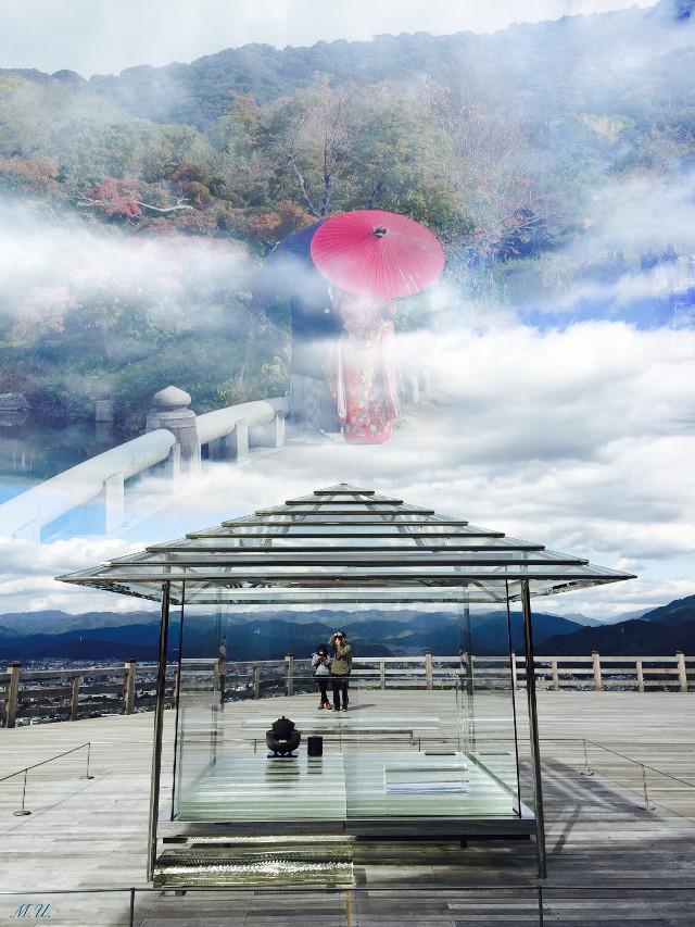 High in the sky ⛅️☁️.            #Japan #surrealism #Asia #teahouse  #clouds  #Kyoto #surreal #wapintheclouds #doublexposure #kimono #couple #ecdoubleexposures