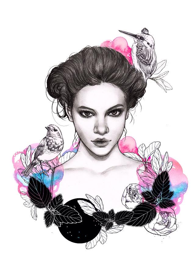 #illust #illustration #drawing #draw #pencil #pencilsketch #sketch #face #beauty #fashionillustration #art #artwork #warercolor#bird