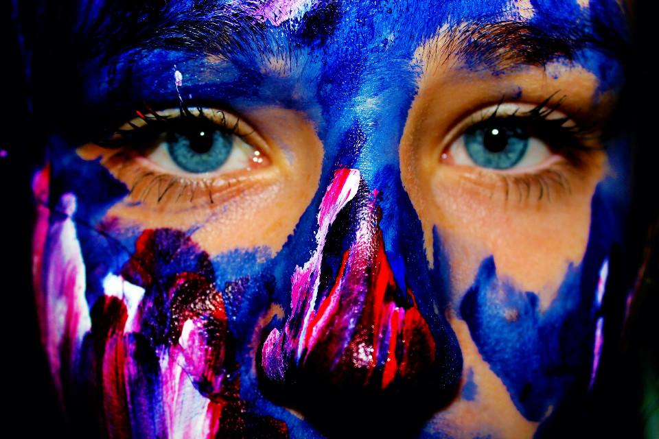 #colorful #blue #eyes #emotions #colorsplash #bod #bodyart #Closeup
