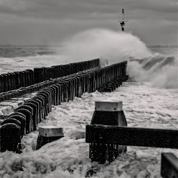 photography sea storm pier waves
