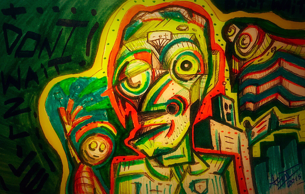 Big Words (dont wait) - Artwork by Aaron D  #art #sketch #colors #expression