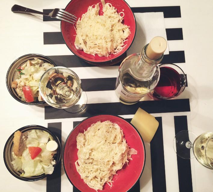 #food #whitewine #pasta #cesar #evening