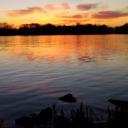 lake sunset autumn colourfulsky