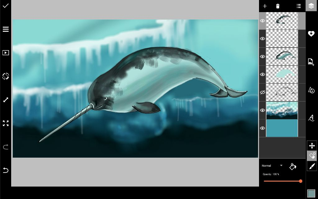 narwhal drawing final steps
