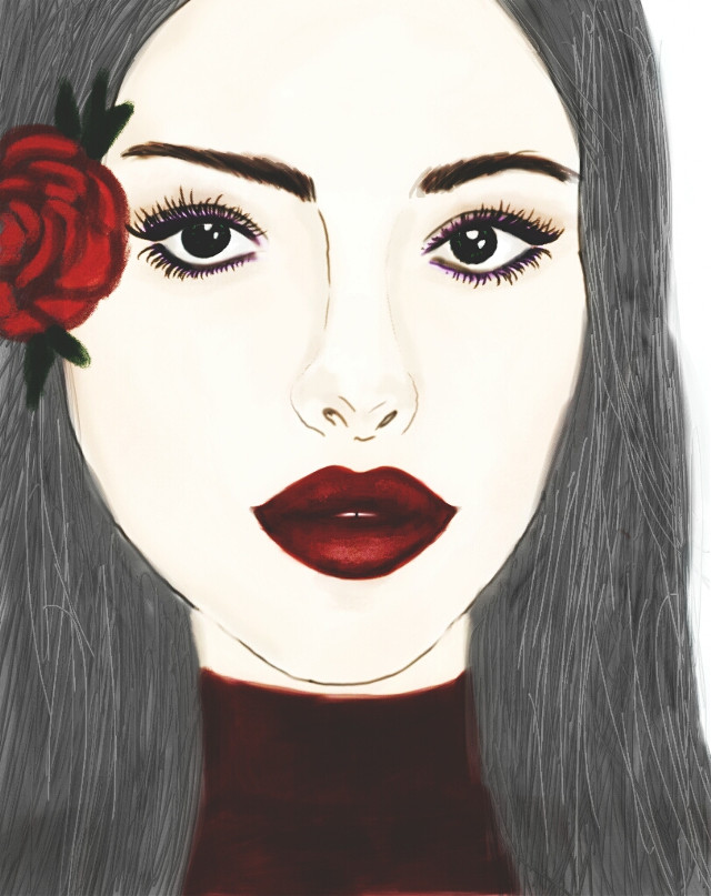 Effect on.  #madewithpicsart #face #portrait #red #rose #makeup #drawing #art