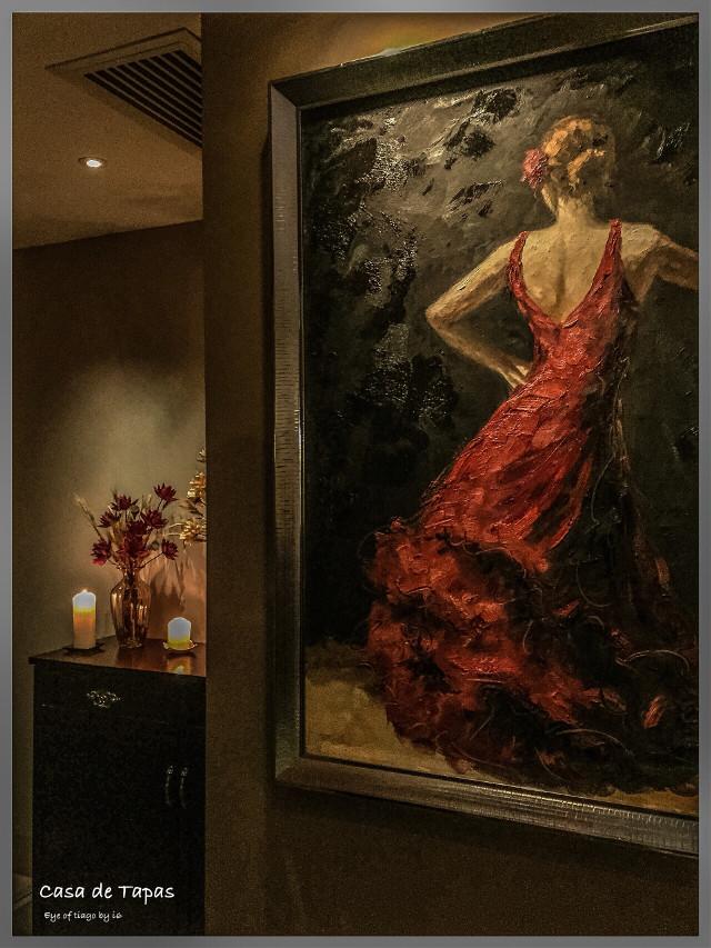 #art #interesting #nature #macau #taipa city #restaurant  # Spain # candle #red dress # painting #glass cabinet  #casa de tapas #photography #tiago studio