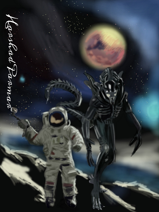 #wdpscifi#astronaut taking selfie with alien.# digital drawing #space#astronaut#alien#selfie stick..hope u all like it this idea my friends. Thanx for ur likes, votes & repost if any.