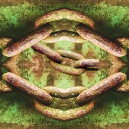 rust iron chain mirrored