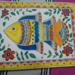 madhubani painting fish poise beautiful