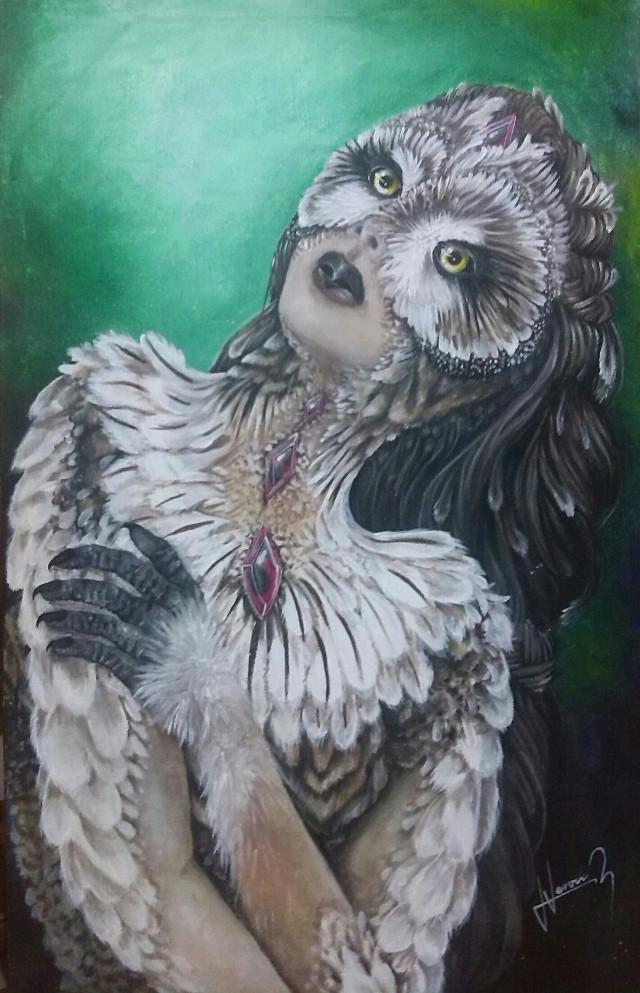 🍃🍂🍁 🌙🌑🌔 Título : Alquimista  Autor :VeroVRz  Técnica : Acrílico sobre lienzo  Año :2015  [Already SOLD] 📌   #owl #pintura #Acrylic #mine #interesting #canvas #love #people #Alquimista #wishes #metamorfosis #MyArt #Gems #girl #surreal #feelings #nature #FairyTale #wdpWomenPortraits