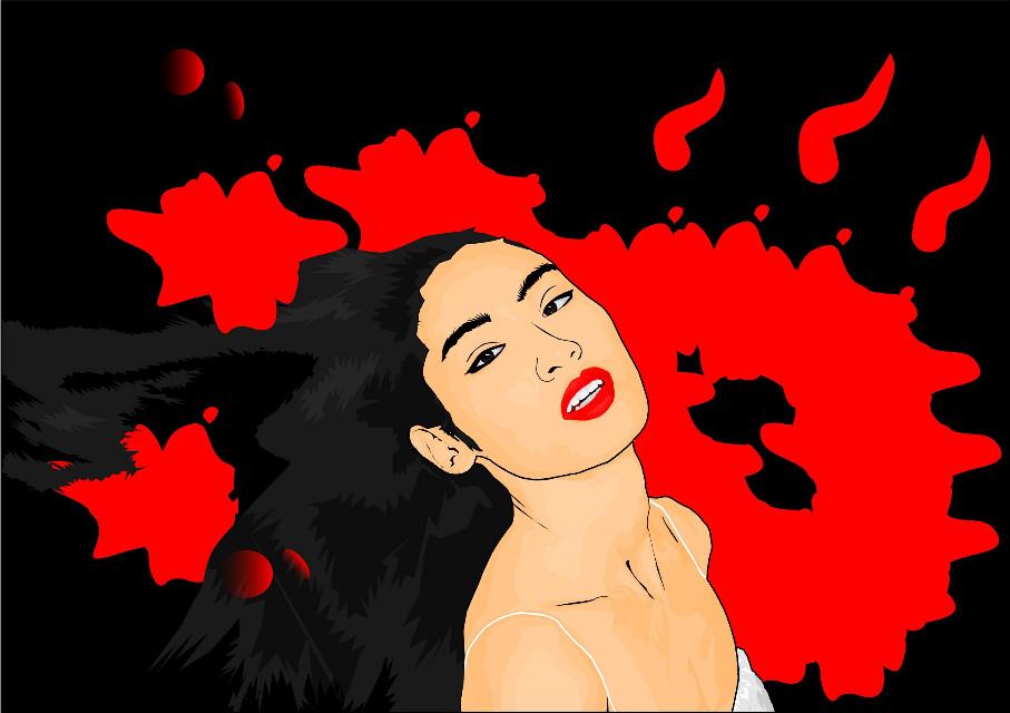 #photography #colorful #colorsplash #freetoedit #emotions #people #popart  #art #workart #vector #vectorart #digitalpainting #women #red #cartoon #cartoonportrait #portrait #girl #sexy