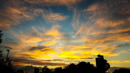 sunset blue orange sky nature