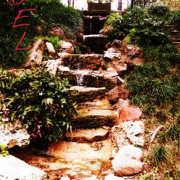crossprocess hillside waterfall flowing bayoubend