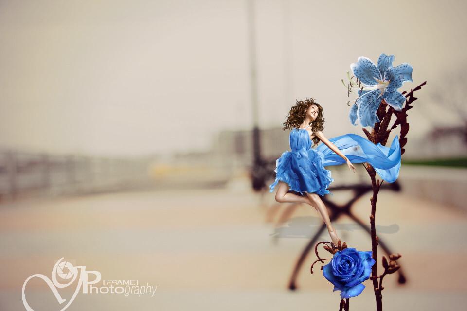 #art #flowers #bokeh #park #bluedress #nature