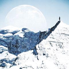 mountain minimalism minimal blue moon