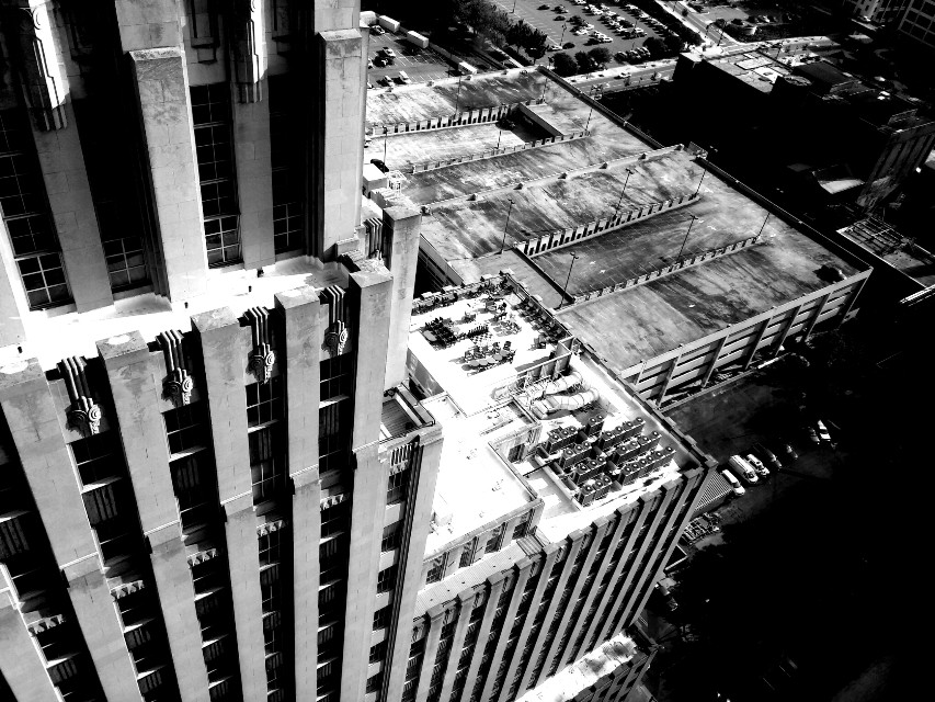 Up On The Roof  #roof #rooftop #blackandwhite #monochrome #contrast #building #skyscraper