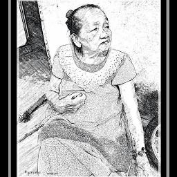 blackandwhite pencilart mother emotions