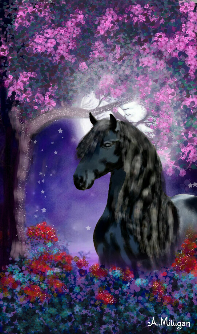 "#wdptrees ""Black beauty and nature"" Short step by step guide on my profile page 😆 💚 ❤   #colorsplash #colorful #flower #love #nature #petsandanimals #horses #country  #tree  #beautiful  #magical  # majestic  #draw.😊 ❤ 💚 🐴 🐎 🏇"