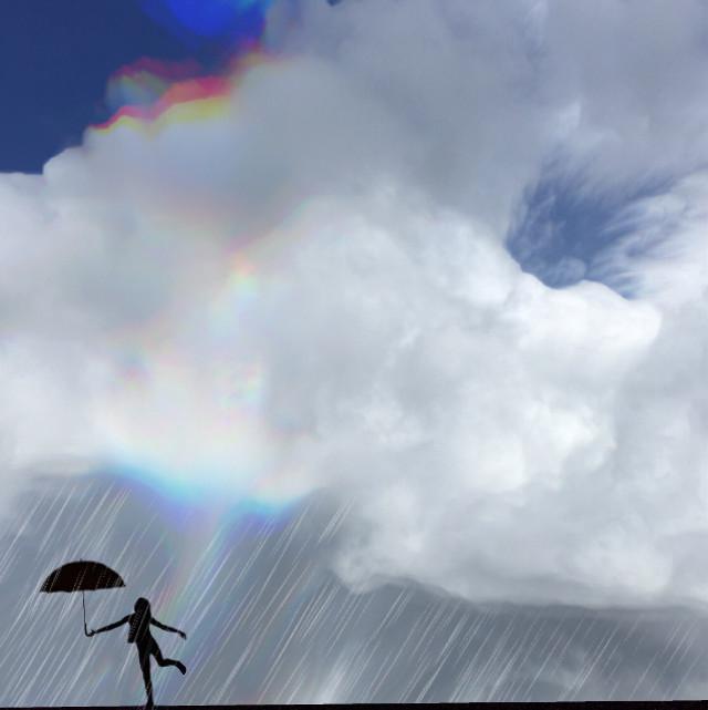 April showers  #art #interesting #spring #rain #rainbow #clouds        #sky #edit #edited